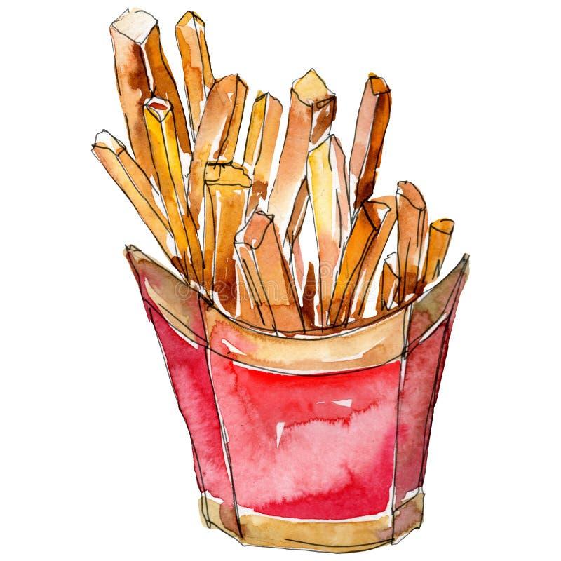 Τηγανιτές πατάτες γρήγορου φαγητού σε ένα σύνολο ύφους watercolor Απεικόνιση τροφίμων ακουαρελών για το υπόβαθρο Απομονωμένο στοι διανυσματική απεικόνιση