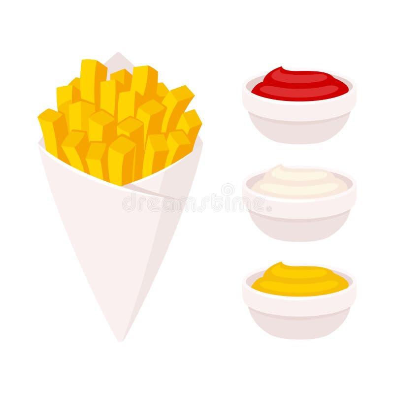 τηγανιτές πατάτες με τη βύθιση της σάλτσας διανυσματική απεικόνιση