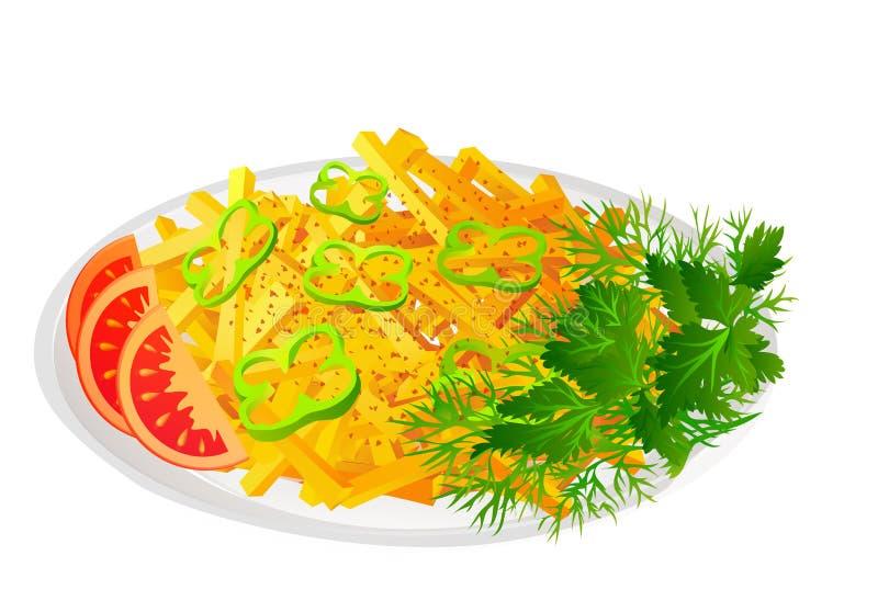 Τηγανιτές πατάτες με τη σαλάτα και τις ντομάτες ελεύθερη απεικόνιση δικαιώματος