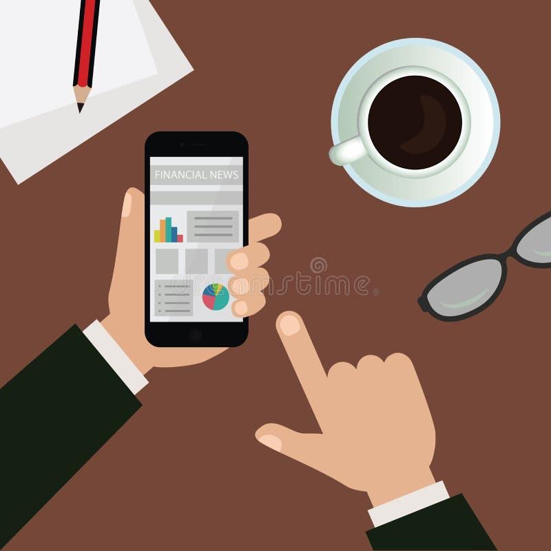 Τηλέφωνο εκμετάλλευσης ατόμων που προσέχει τις οικονομικές ειδήσεις στην απεικόνιση γραφείων απεικόνιση αποθεμάτων