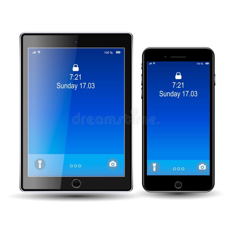 Τηλέφωνο και ταμπλέτα, μπλε οθόνη EPS10 στοκ εικόνες