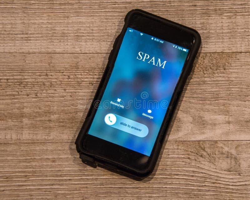 Τηλέφωνο κυττάρων που παρουσιάζει κλήση από, Spam στοκ φωτογραφία με δικαίωμα ελεύθερης χρήσης