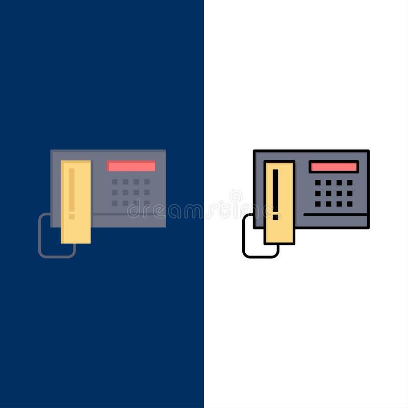 Τηλέφωνο, τηλέφωνο, κύτταρο, εικονίδια υλικού Επίπεδος και γραμμή γέμισε το καθορισμένο διανυσματικό μπλε υπόβαθρο εικονιδίων διανυσματική απεικόνιση
