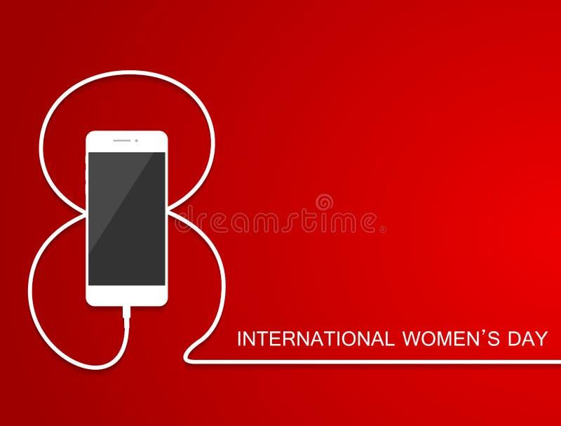 Τηλέφωνο με τη γραμμή οκτώ καλώδιο Δαπάνη smartphone στις 8 Μαρτίου περιλήψεων, διεθνής κάρτα ημέρας γυναικών ` s EPS10 ελεύθερη απεικόνιση δικαιώματος