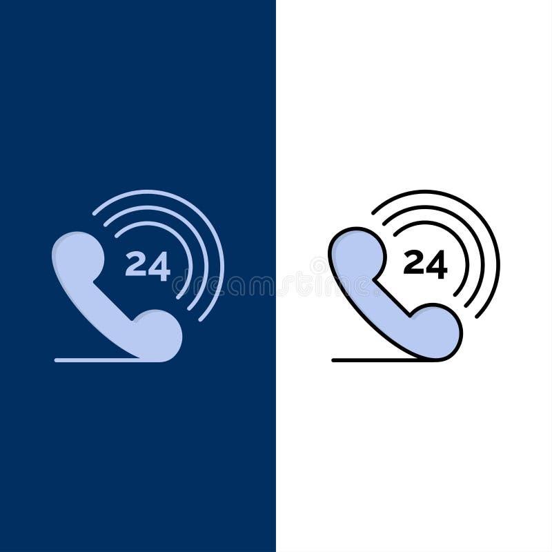 Τηλέφωνο, τηλέφωνο, που χτυπά, 24 εικονίδια Επίπεδος και γραμμή γέμισε το καθορισμένο διανυσματικό μπλε υπόβαθρο εικονιδίων ελεύθερη απεικόνιση δικαιώματος