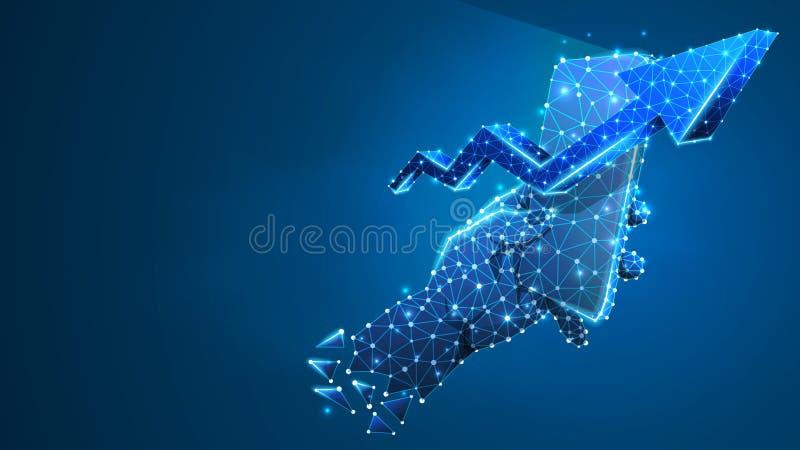 Τηλέφωνο σε ένα χέρι, βέλος επάνω στο σύμβολο στην κινητή οθόνη Ανάπτυξη αγοράς, έννοια εμπορικών συναλλαγών εφαρμογής Περίληψη,  απεικόνιση αποθεμάτων