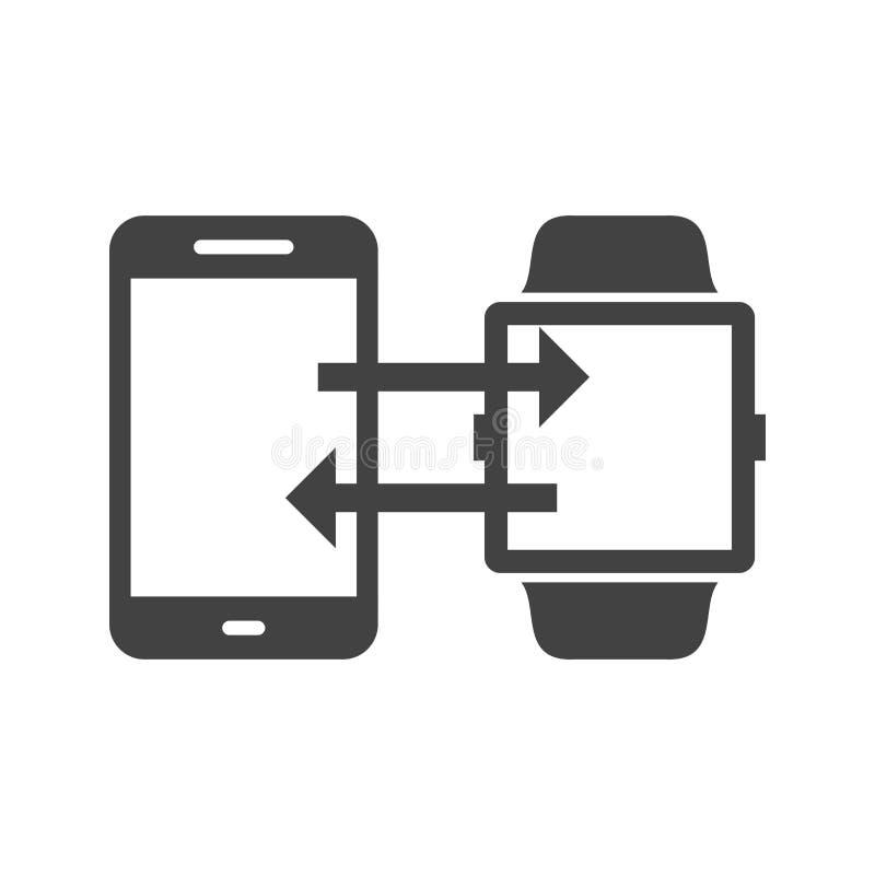 Τηλέφωνο στο συγχρονισμό ρολογιών διανυσματική απεικόνιση