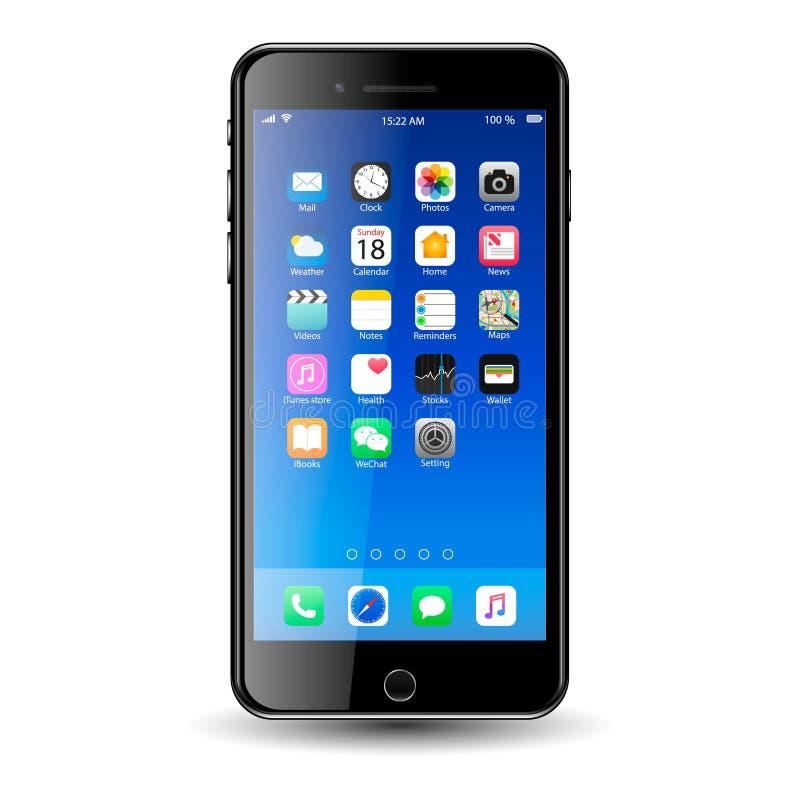 Τηλέφωνο της Mobil με τα εικονίδια στοκ φωτογραφία