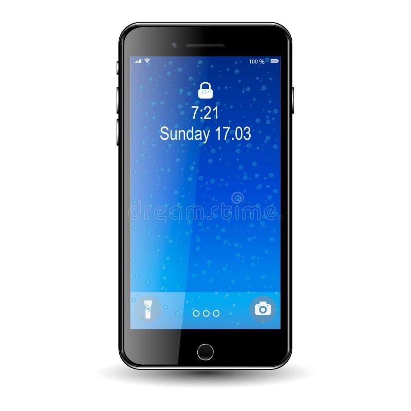 Τηλέφωνο της Mobil με την μπλε οθόνη, με τις φυσαλίδες στοκ εικόνα