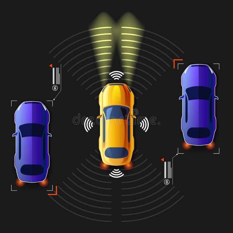 Τηλεκατευθυνόμενο έξυπνο αυτοκίνητο Ευφυές σύστημα εθνικών οδών διανυσματική απεικόνιση