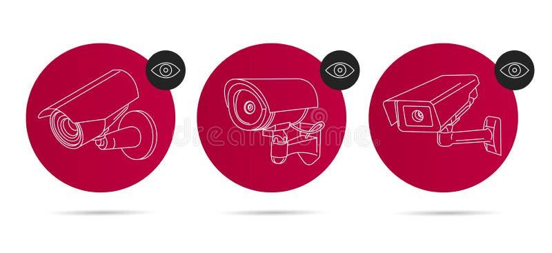 Τηλεοπτικά γραμμικά εικονίδια επιτήρησης που τίθενται στον κόκκινο κύκλο με το μάτι διανυσματική απεικόνιση