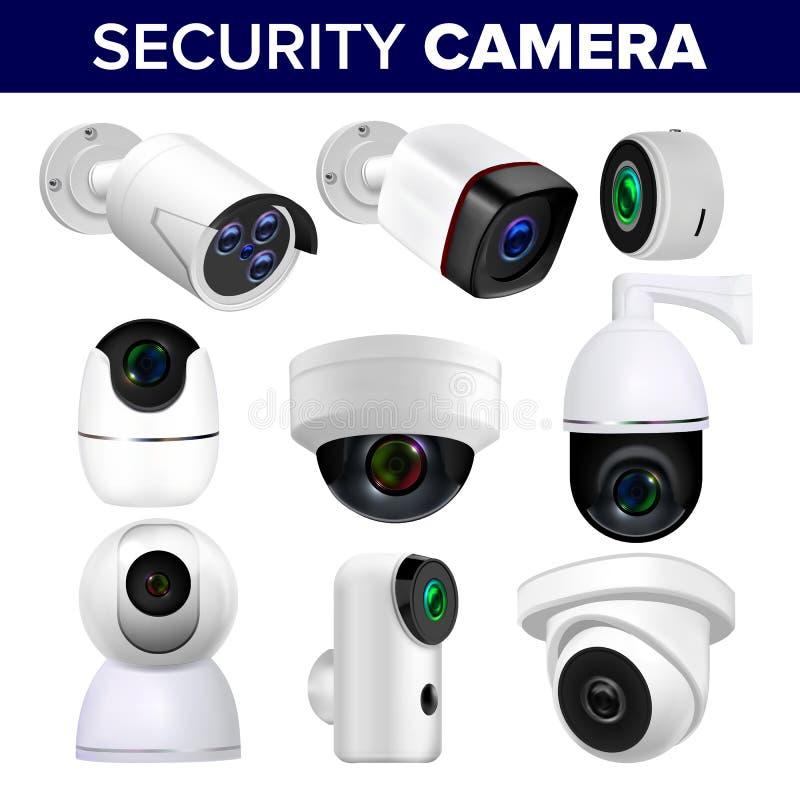 Τηλεοπτικά κάμερα ασφαλείας επιτήρησης καθορισμένα διανυσματικά απεικόνιση αποθεμάτων