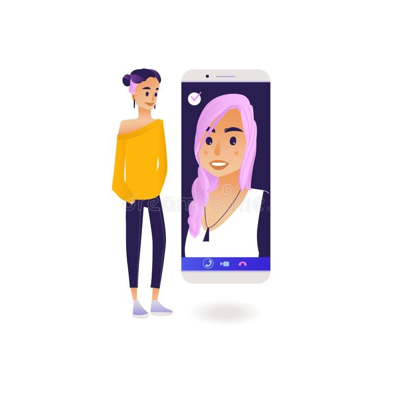 Τηλεοπτική έννοια διασκέψεων συνομιλίας κλήσης με το νέο αντίστροφο γυναικών με ένα άλλο κορίτσι που χρησιμοποιεί το μεγάλο smart διανυσματική απεικόνιση