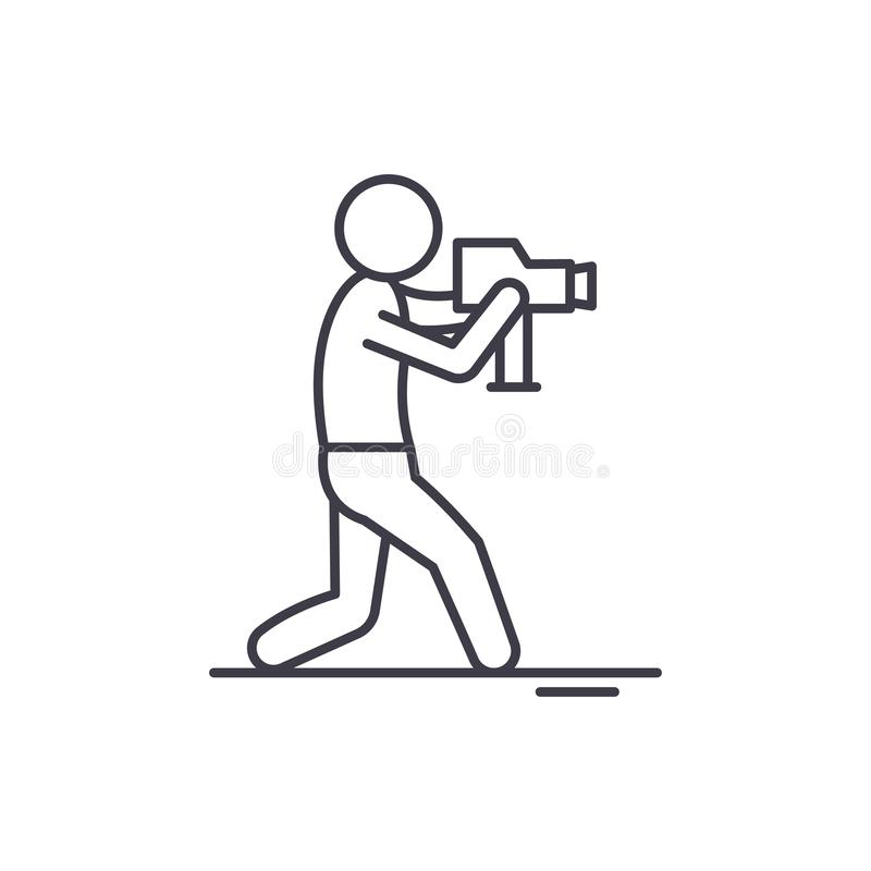 Τηλεοπτική έννοια εικονιδίων γραμμών χειριστών Τηλεοπτική διανυσματική γραμμική απεικόνιση χειριστών, σύμβολο, σημάδι διανυσματική απεικόνιση