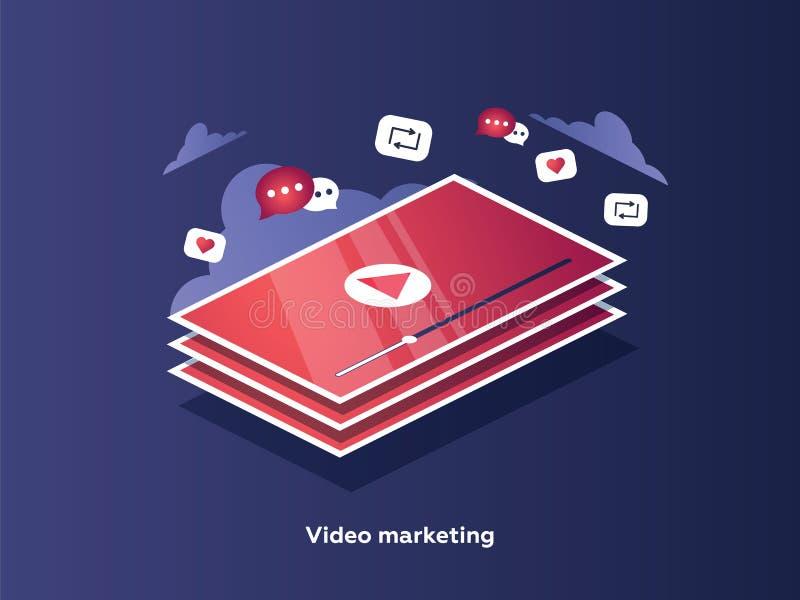 Τηλεοπτική έννοια μάρκετινγκ Οθόνη ταμπλετών με ένα εικονίδιο του τηλεοπτικού pla ελεύθερη απεικόνιση δικαιώματος