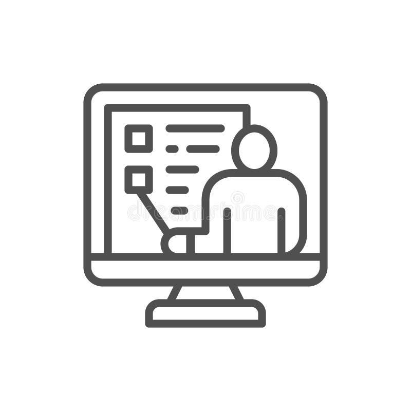 Τηλεοπτική εκπαίδευση, webinar, διάσκεψη Ιστού, σε απευθείας σύνδεση εικονίδιο γραμμών υποστήριξης διανυσματική απεικόνιση