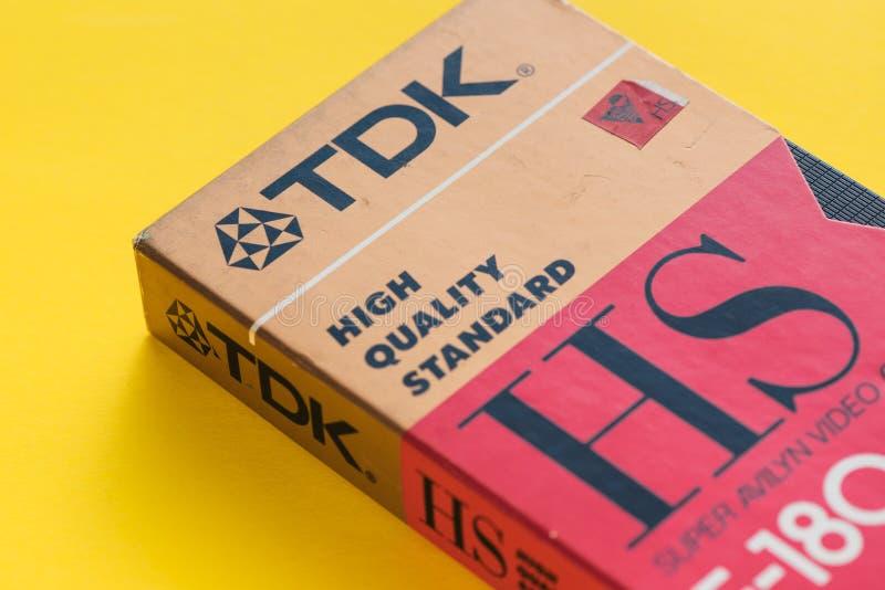 Τηλεοπτική κασέτα VHS TDK, αναδρομική τηλεοπτική τεχνολογία στοκ εικόνες