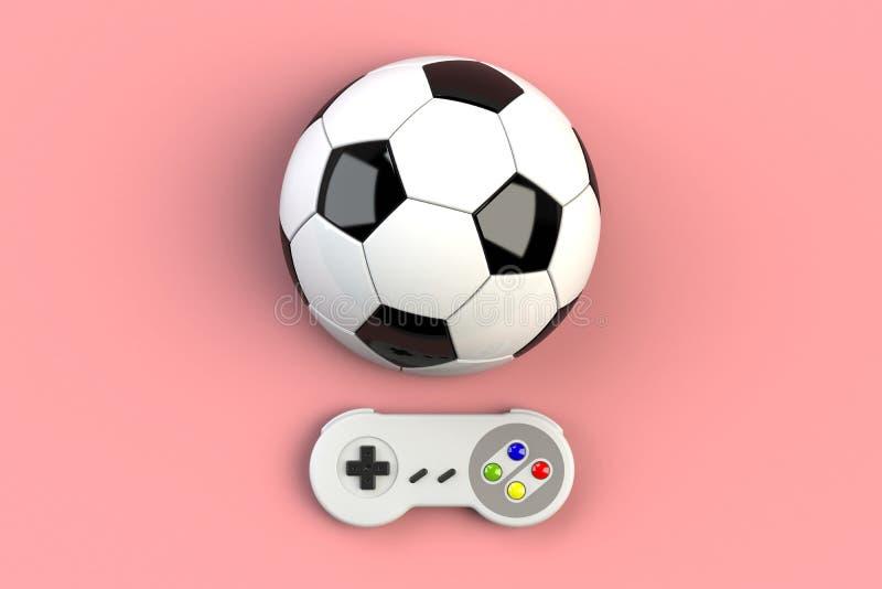 Τηλεοπτική κονσόλα GamePad παιχνιδιών r Αναδρομικό πηδάλιο τοπ άποψης με τη σφαίρα ποδοσφαίρου που απομονώνεται στο ρόδινο υπόβαθ διανυσματική απεικόνιση
