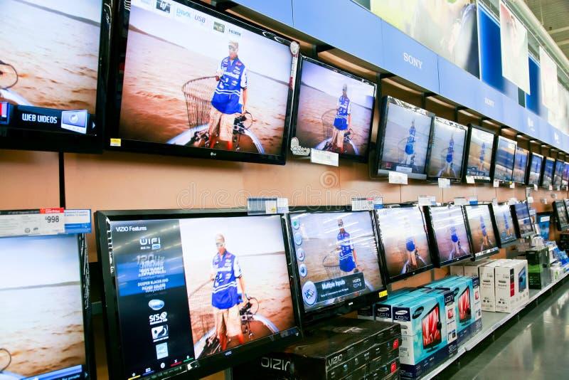 τηλεοπτικός τοίχος κατ&alph στοκ φωτογραφίες