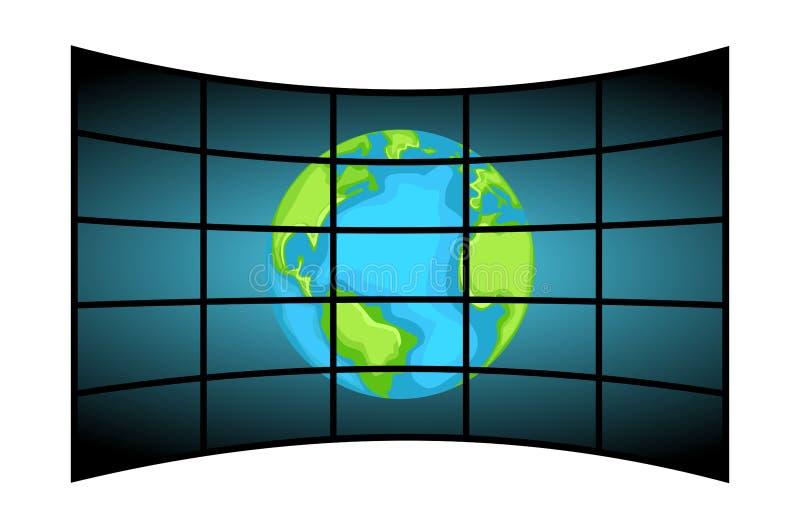 Τηλεοπτικός τοίχος που παρουσιάζει τη γη ελεύθερη απεικόνιση δικαιώματος
