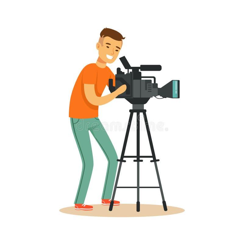 Τηλεοπτικός τηλεοπτικός χειριστής που κοιτάζει μέσω του camcorder στο τρίποδο διανυσματική απεικόνιση