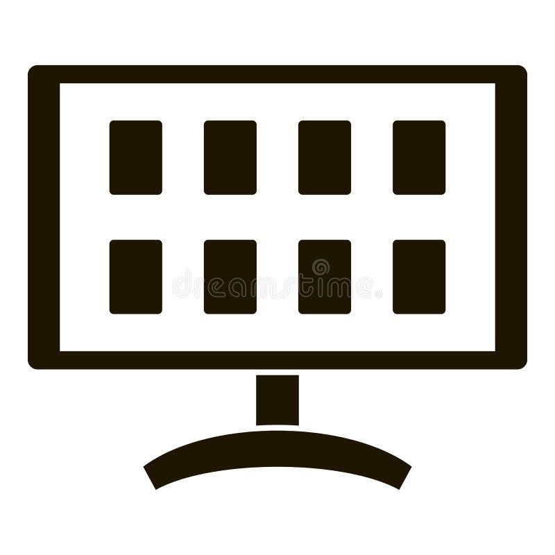 Τηλεοπτικό εικονίδιο ασφάλειας οργάνων ελέγχου, απλό ύφος διανυσματική απεικόνιση