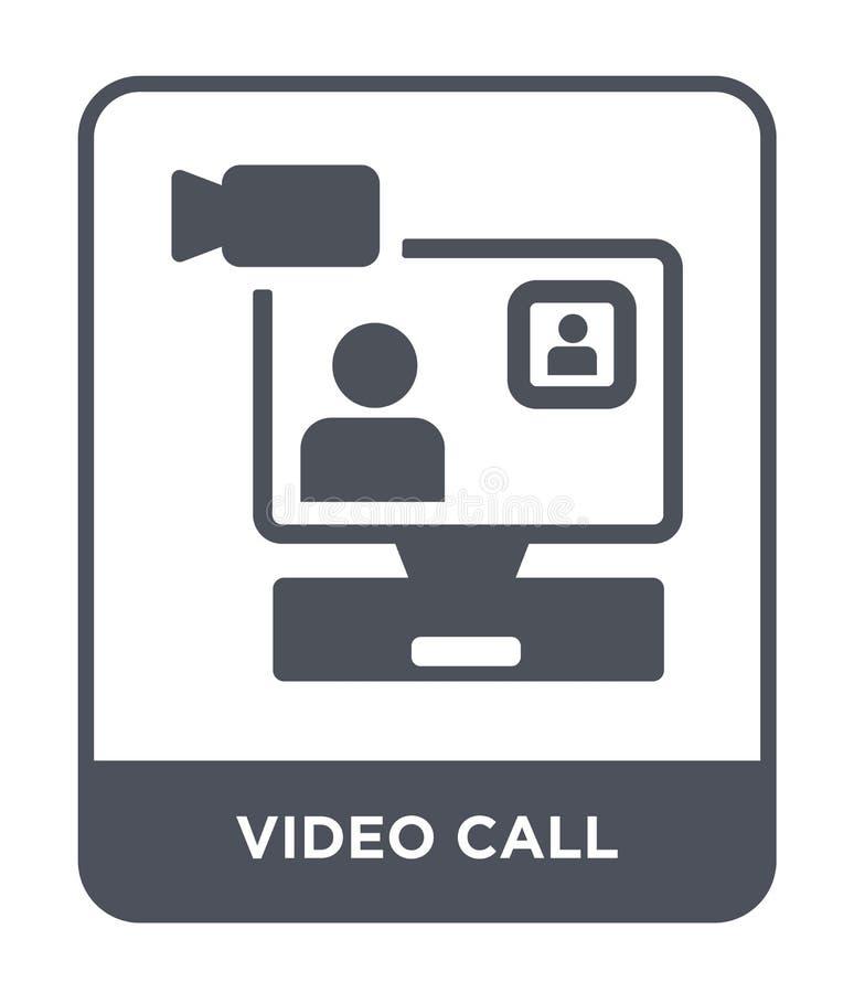 τηλεοπτικό εικονίδιο κλήσης στο καθιερώνον τη μόδα ύφος σχεδίου τηλεοπτικό εικονίδιο κλήσης που απομονώνεται στο άσπρο υπόβαθρο τ διανυσματική απεικόνιση