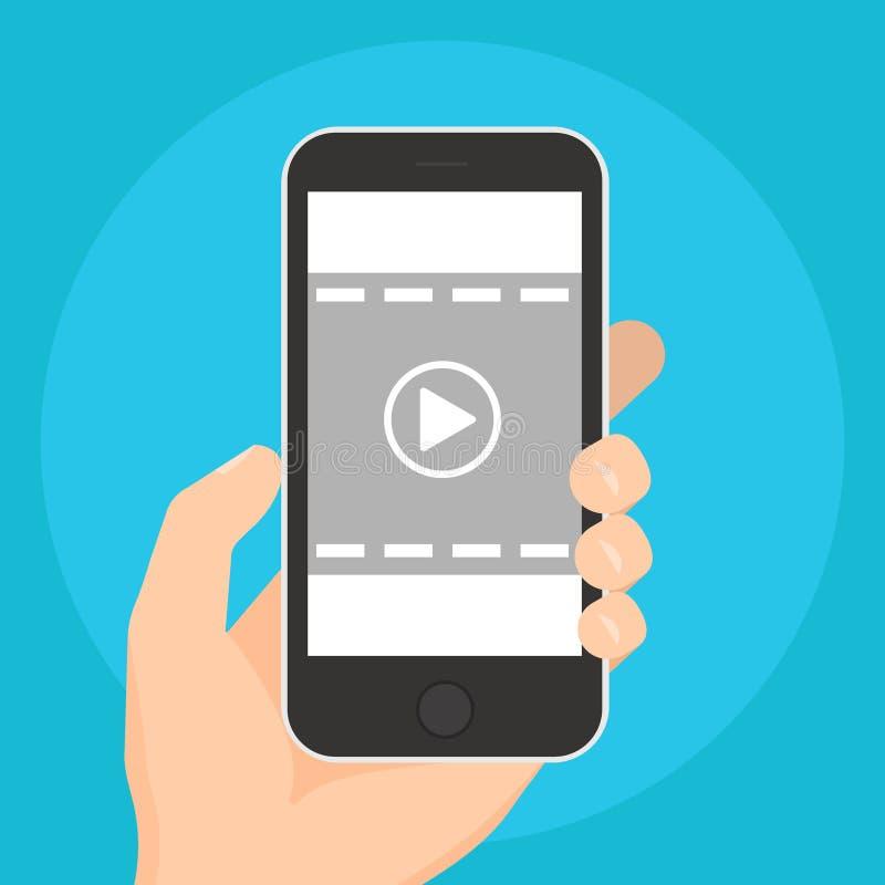 Τηλεοπτικό εικονίδιο παιχνιδιού Παίζοντας βίντεο στις κινητές συσκευές στο μπλε υπόβαθρο απεικόνιση απεικόνιση αποθεμάτων