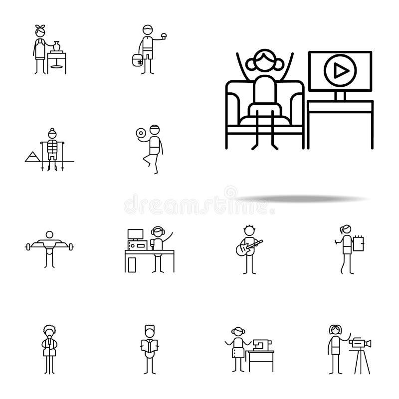 τηλεοπτικό εικονίδιο blogger hobbie καθολικό εικονιδίων που τίθεται για τον Ιστό και κινητό απεικόνιση αποθεμάτων