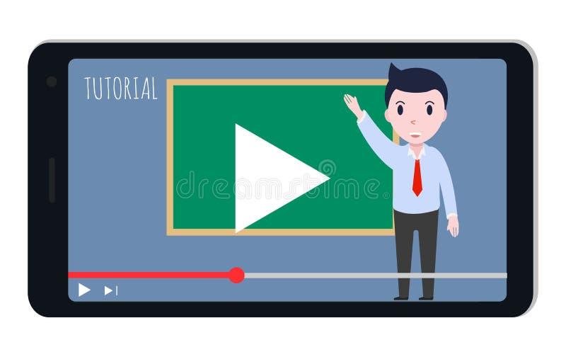 Τηλεοπτικό σεμινάριο, διανυσματική απεικόνιση smartphone, ροή, σε απευθείας σύνδεση βίντεο απεικόνιση αποθεμάτων