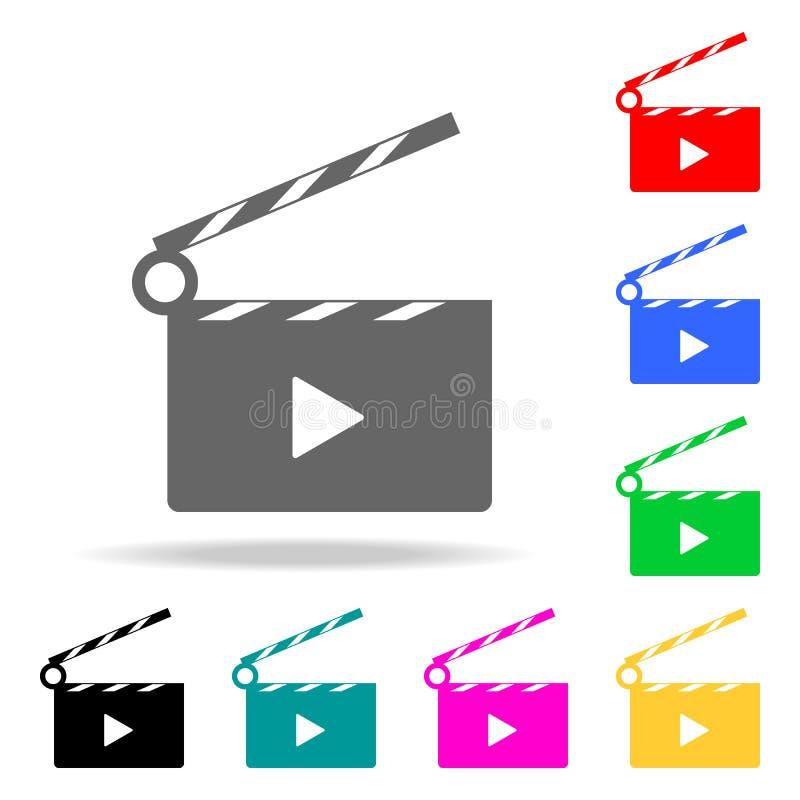 Τηλεοπτικό σημάδι κινηματογράφων εικονιδίων Στοιχεία στα πολυ χρωματισμένα εικονίδια για την κινητούς έννοια και τον Ιστό apps Ει ελεύθερη απεικόνιση δικαιώματος