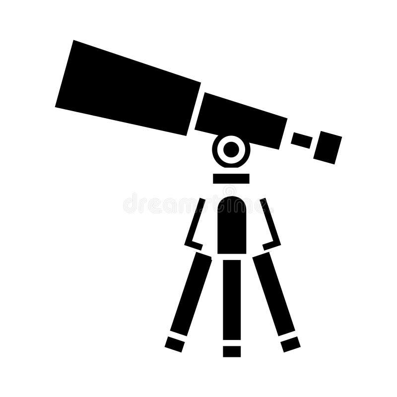 Τηλεσκόπιο - εικονίδιο πεδίου, διανυσματική απεικόνιση, μαύρο σημάδι στο απομονωμένο υπόβαθρο απεικόνιση αποθεμάτων