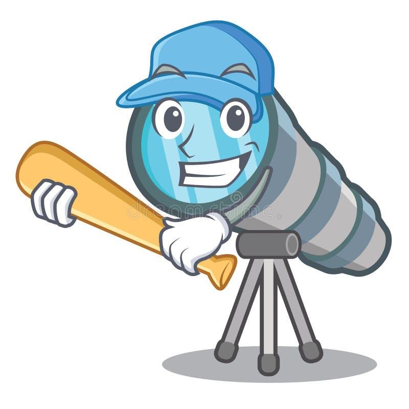 Τηλεσκόπιο μπέιζ-μπώλ παιχνιδιού που απομονώνεται με στη μασκότ ελεύθερη απεικόνιση δικαιώματος