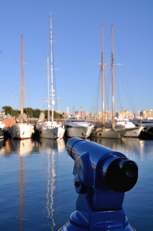 Τηλεσκόπιο Turistic στο λιμένα της Βαρκελώνης στοκ εικόνες