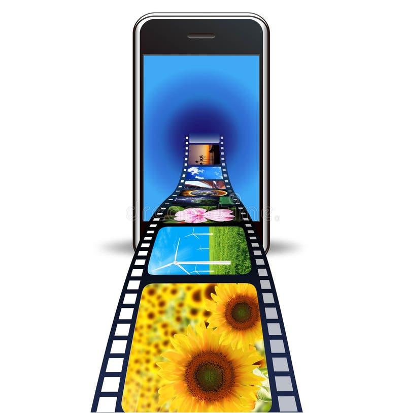 τηλεφωνικές φωτογραφίες ανασκόπησης έξυπνο λευκό διανυσματική απεικόνιση