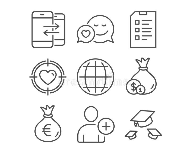 Τηλεφωνική επικοινωνία, τσάντα χρημάτων και εικονίδια πινάκων ελέγχου Η σφαίρα, προσθέτει τα σημάδια χρηστών και μετρητών ελεύθερη απεικόνιση δικαιώματος