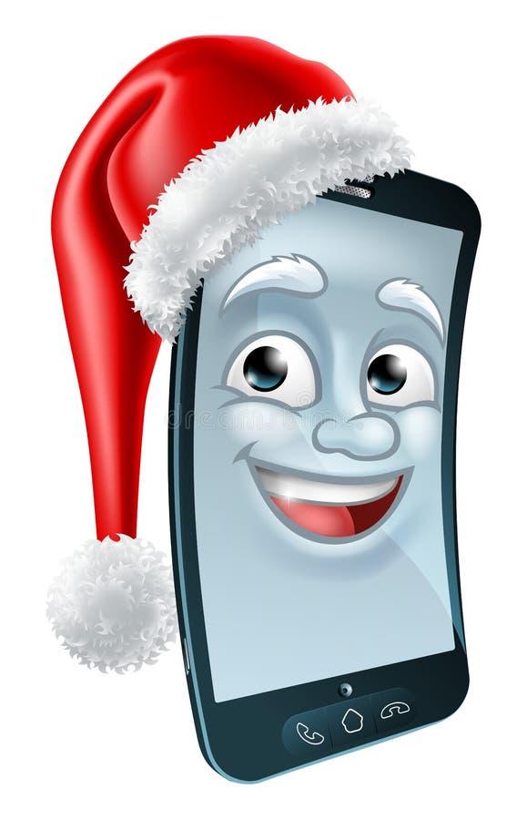 Τηλεφωνική μασκότ κυττάρων Χριστουγέννων κινητή στο καπέλο Santa διανυσματική απεικόνιση