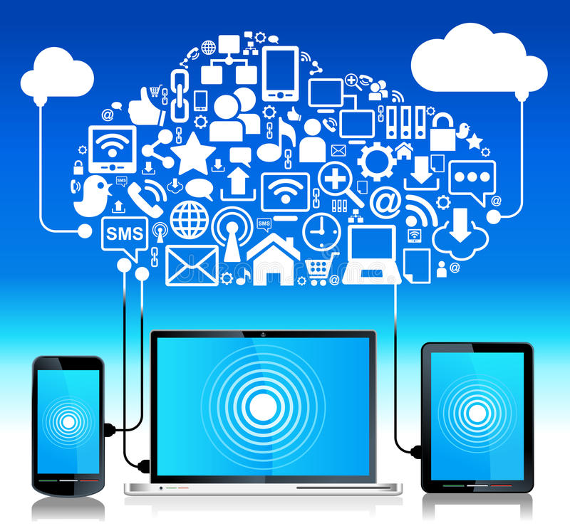 τηλεφωνική ταμπλέτα lap-top σύνδεσης σφαιρική απεικόνιση αποθεμάτων