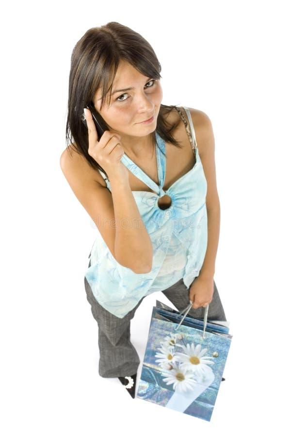 τηλεφωνική talkig γυναίκα πελ& στοκ φωτογραφία με δικαίωμα ελεύθερης χρήσης
