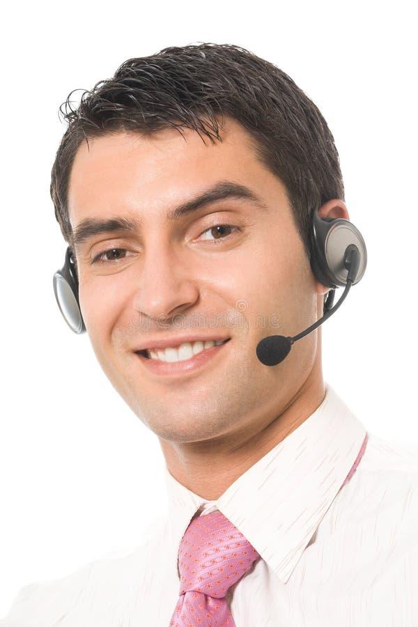Τηλεφωνικός χειριστής υποστήριξης στην κάσκα στοκ φωτογραφία με δικαίωμα ελεύθερης χρήσης