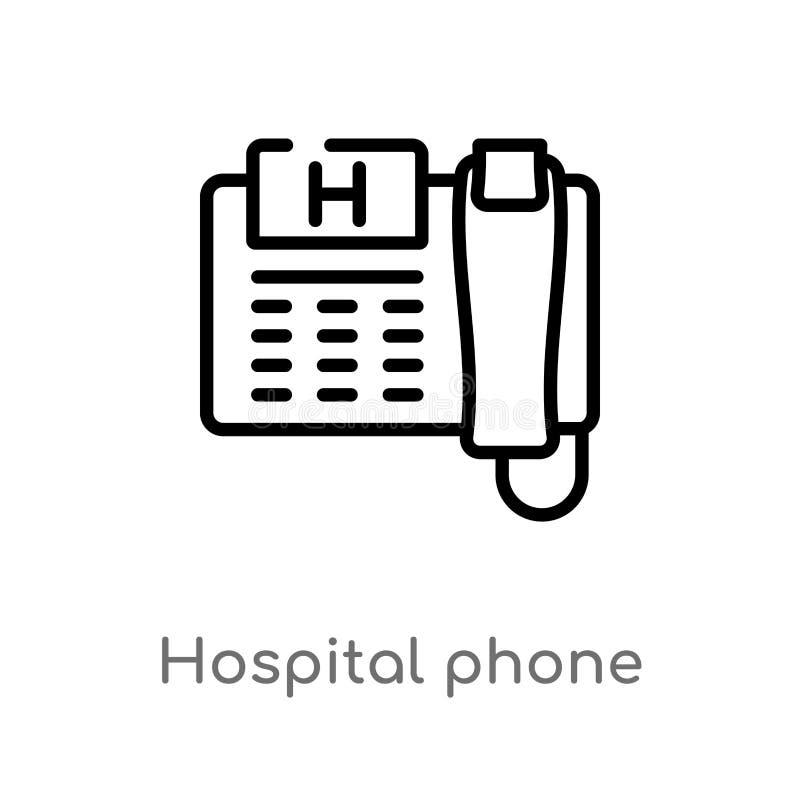 τηλεφωνικό διανυσματικό εικονίδιο νοσοκομείων περιλήψεων απομονωμένη μαύρη απλή απεικόνιση στοιχείων γραμμών από την έννοια τεχνο διανυσματική απεικόνιση