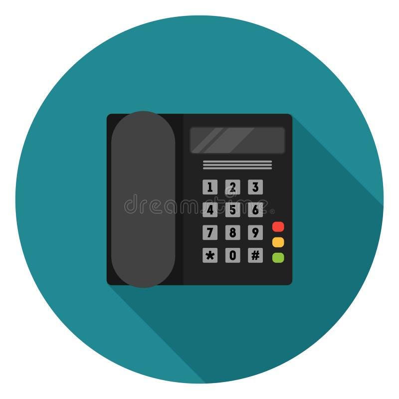 Τηλεφωνικό εικονίδιο γραφείων στο επίπεδο σχέδιο απεικόνιση αποθεμάτων