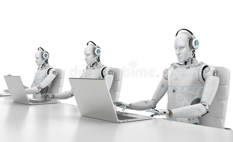 Τηλεφωνικό κέντρο ρομπότ ελεύθερη απεικόνιση δικαιώματος
