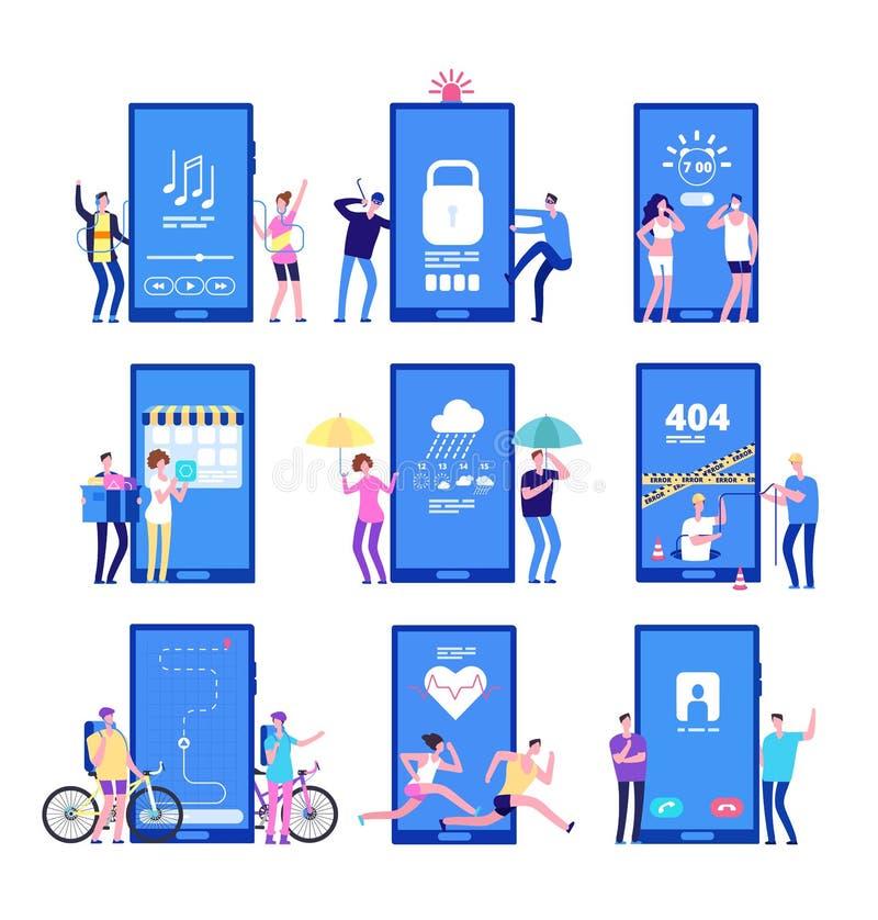 Τηλεφωνικό app έννοια Άνδρες και γυναίκες που στέκονται κοντά στα μεγάλα τηλέφωνα κυττάρων με τα κινητά apps στην οθόνη Διανυσματ διανυσματική απεικόνιση