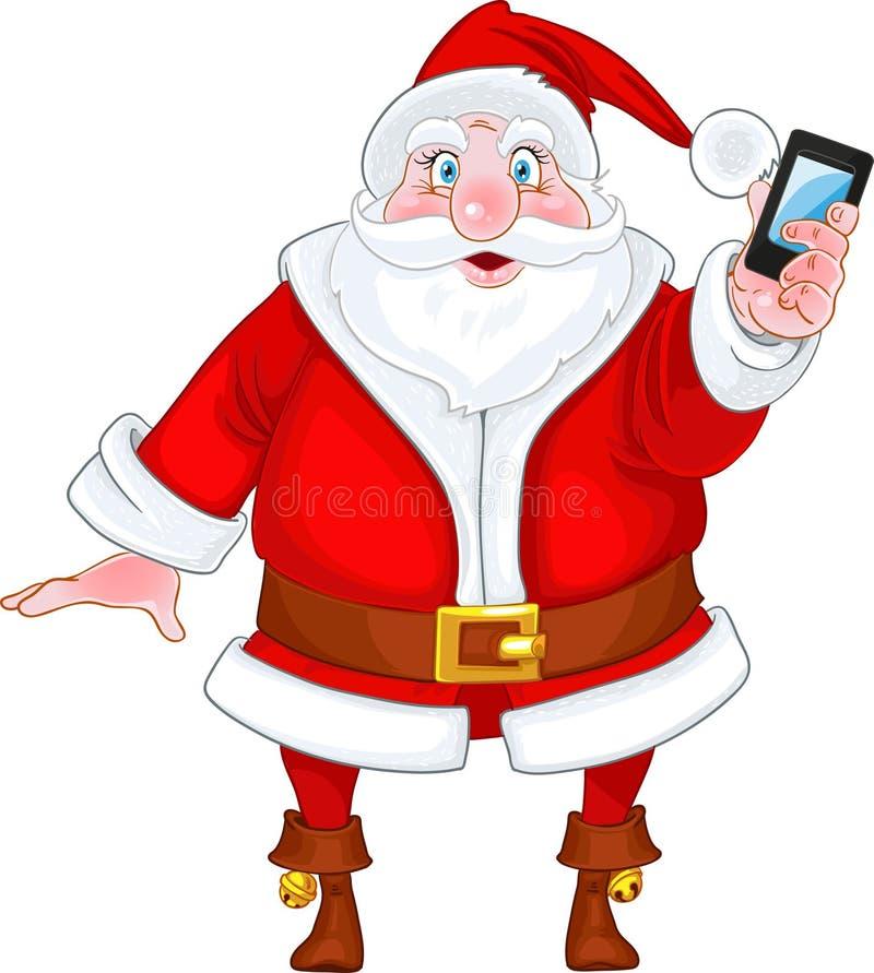 τηλεφωνικό santa Claus έξυπνο διανυσματική απεικόνιση