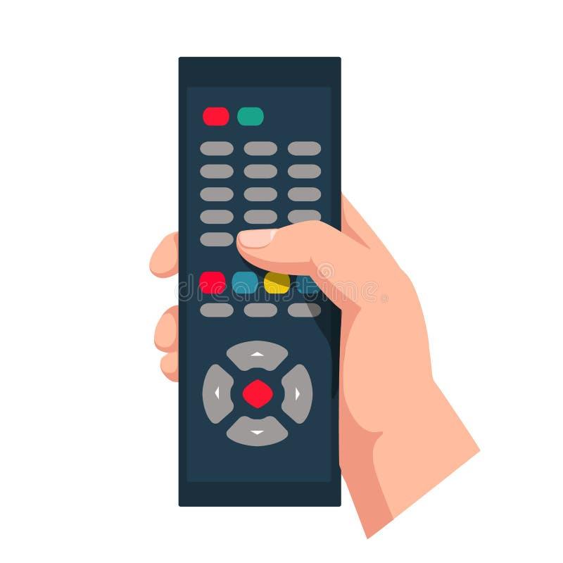 Τηλεχειρισμός που κρατά υπό εξέταση απομονωμένος στο άσπρο υπόβαθρο Ασύρματος τηλεοπτικός έλεγχος συνομιλίες έννοιας επικοινωνίας διανυσματική απεικόνιση