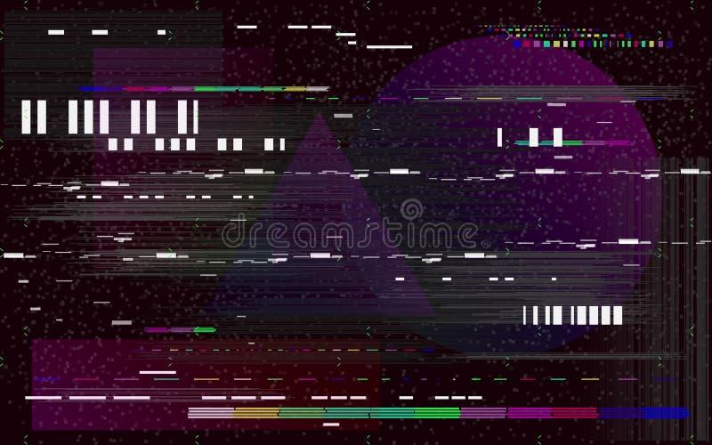 Τηλεόραση δυσλειτουργίας στο μαύρο υπόβαθρο Αναδρομικό σκηνικό VHS Μορφές θορύβου και χρώματος γραμμών Glitched κανένα σήμα διάνυ απεικόνιση αποθεμάτων
