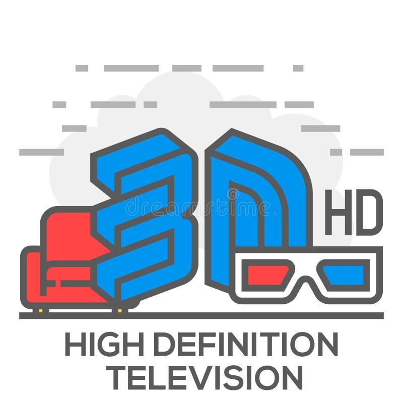 Τηλεόραση υψηλού καθορισμού και επίπεδη απεικόνιση έννοιας γραμμών οικιακής ψυχαγωγίας διανυσματική απεικόνιση