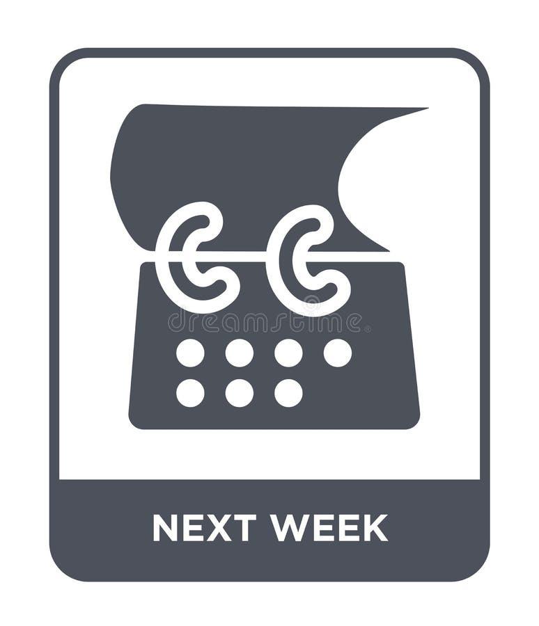 την επόμενη εβδομάδα εικονίδιο στο καθιερώνον τη μόδα ύφος σχεδίου την επόμενη εβδομάδα εικονίδιο που απομονώνεται στο άσπρο υπόβ διανυσματική απεικόνιση
