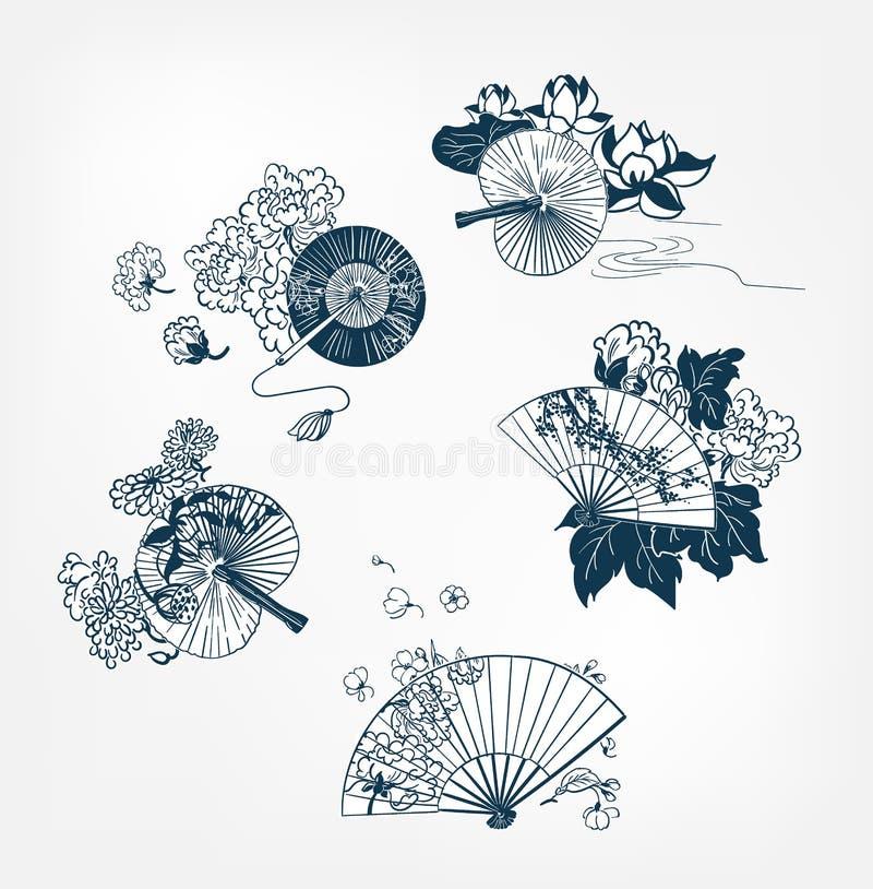 Την ιαπωνική παραδοσιακή διανυσματική απεικόνιση καθορισμένη funs και λουλούδια το peony sakura κρίνων στοκ φωτογραφίες